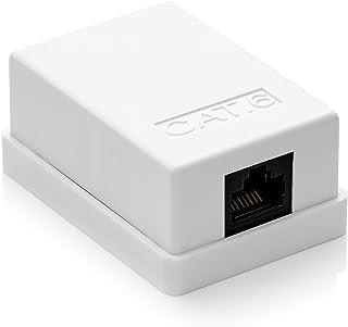 deleyCON 1x Cat 6 Superficie RJ45 1x Puertos Conector de Red Blindados UTP 10 Gbit Ethernet LAN Cable de Conexión - Blanco