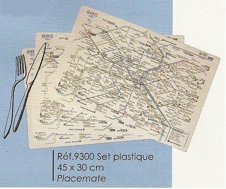 FRANSE VINTAGE PLACEMAT 45x30cm PARIJS RATP METRO MAP