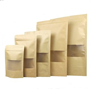 60 Pcs Stand up Kraft Paper Bag Pouch with Zip Lock and Transparent Window for Storing Food,Nuts,Seeds,Beans,Tea Leaves, Coffee,Candy,Snack, Dried Fruits (7