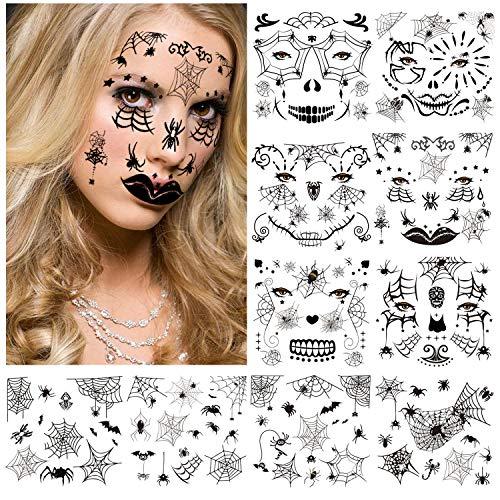 HOWAF Halloween Tatuajes Temporales de Cara,10 hojas Halloween Araña Tatuajes Temporales Pegatinas de maquillaje para Mujer Niños Fiesta Halloween Decoracion Terror cosplay Prop