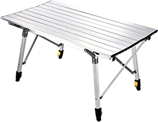 Sanny Camping Folding Table Lightweight Roll-up Table Portable Foldable Camp Tables Aluminum Height Adjustable for Indoor Outdoor Camping Beach Backyard BBQ Party Patio Picnic