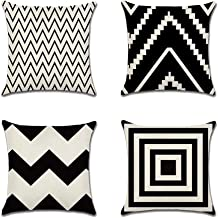 Cushion Covers, Pillow Case Black White Geometric patterns 18x18 Inch for Sofa and Bed Square (Color : 4pc, Size : 45 * 45cm)