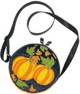 AHOMY Thanksgiving Pumpkin Autumn Leaf Women Round Bag Crossbody Circle Purse Canvas Bag