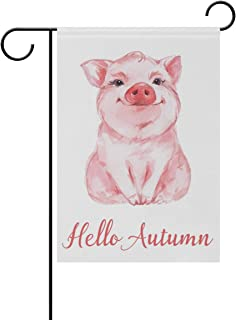 NASEN Garden Flag Funny Pig Hello Autumn Modern Outdoor Decorations Home Welcome Decorative Double Sided Yard 12x18 Inches Festival