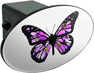 Graphics and More Butterfly with Flowers Oval Tow Hitch Cover Trailer Plug Insert 2