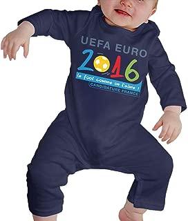 FengZe Baby Round Neck Long Sleeve Onesie France UEFA Euro 2016.SVG Funny Jumpsuit Black