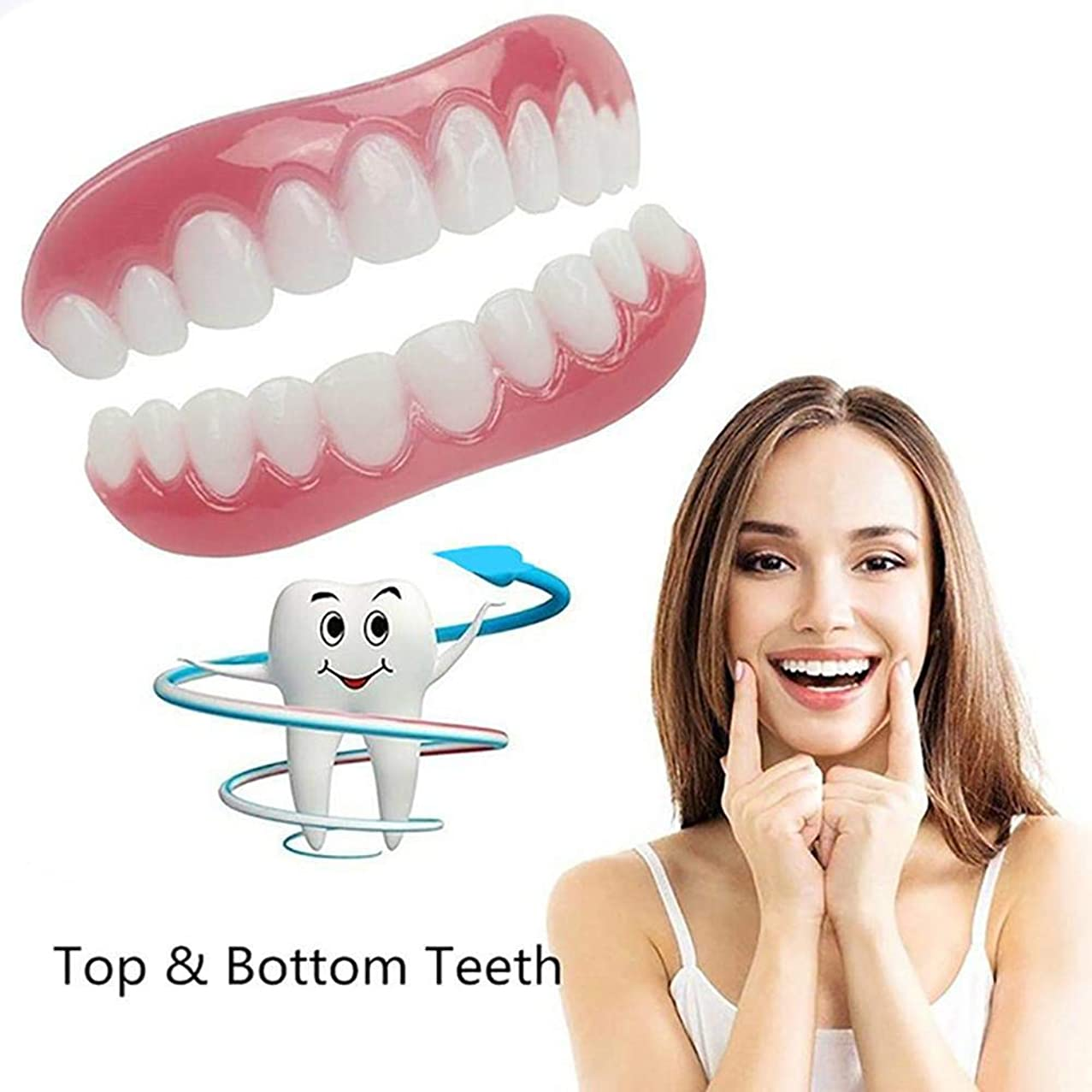 ドアミラーリズミカルな本物の義歯義歯上下上下義歯インスタントスマイルコンフォートフィットフレックス化粧品歯のトップ化粧品突き板箱入り,11Pairs