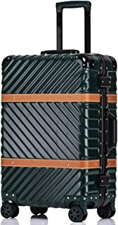 SMLCTY Cabin Luggage,Ultra-Lightweight And Durable Aluminum Frame Frosted Wear-Resistant Waterproof Suitcase 360° Mute Caster (Color : Green, Size : 20 inch)