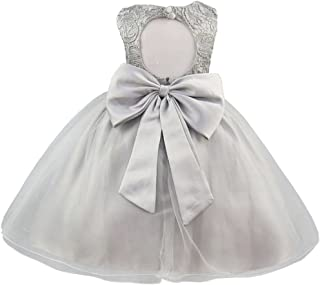 KYMIDY Baby Girls Tulle Lace Flower Bridesmaid Gown Sleeveless Backless Dress with Bow for Party Wedding