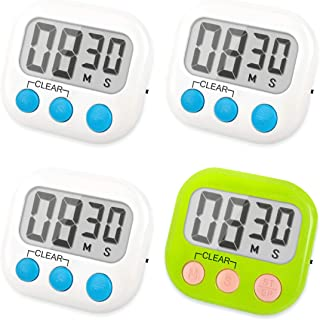 FOREV Kitchen Timer 4 Pack Small Digital Electronic Loud Alarm, Magnetic Backing, ON/OFF Switch, Minute Second Countdown, White, Blue and Orange (3 White & 1 Green)
