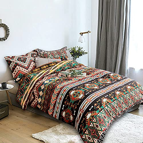 ZHH Bohemian Bedding Sets Queen Size 3Pcs Boho Floral Pattern Duvet Cover Colorful Ethnic Retro Beddding Set Luxury Bedroom Decor