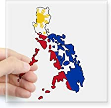 CafePress Philippine Flag and Map Decal Sticker Square Bumper Sticker Car Decal, 3