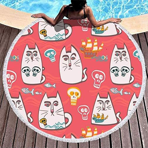 Toallas de Playa japonés Gato Calavera pez Obra de Arte borlas Blancas Cubierta de Mesa de Picnic para baño/Piscina/Playa/Tiempo de Picnic