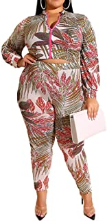 Uni Clau Women Plus Size Two Piece Outfits Tracksuit Floral Printed Long Sleeve Tops Tight Long Pants Sportswear Jumpsuit