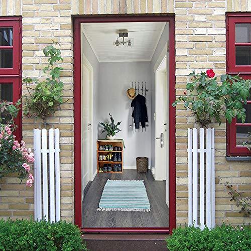 TWSPCF Dörrklistermärken vägg papper rum utrymme skohylla hängare 3D dörrdekaler väggmålning väggkonst avtagbar självhäftande PVC dörrdekoration 77 x 200 cm för hem sovrum vardagsrum kök dekor