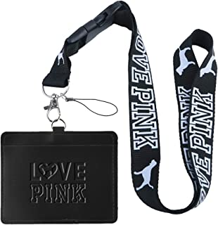 Love Pink Black Faux Leather Business ID Badge Card Holder with (Black with White Hollow) Keychain Lanyard