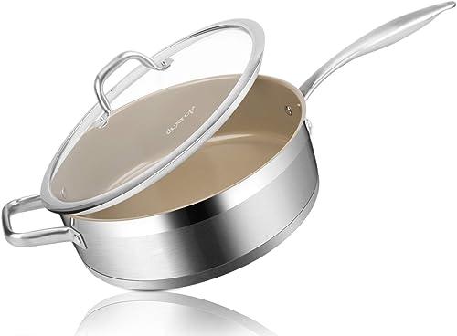 discount Duxtop Ceramic Non-stick Sauté Pan, Induction Stainless Steel Sauté outlet online sale Pan, discount 5.5-Qt Deep Skillet with Lid, Professional Grade and Impact-bonded Technology, FUSION Ti online