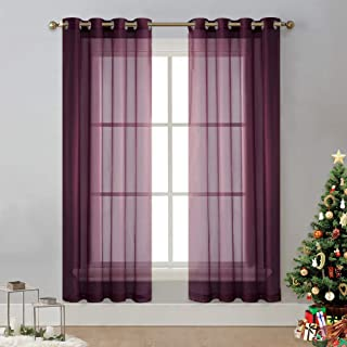NICETOWN Sheer Drapes Window Curtains - Romantic Grommet Top Bedroom/Living Room Voile Panels (Eggplant, 2 Pieces, W54 x L72)