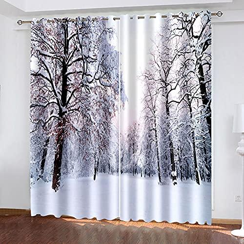 DRFQSK Cortinas Opacas 3D 2 Piezas 150 X 270 Cm(An X Al) Salón Dormitorio Decoración De La Ventana Cortinas Termicas Aislantes Frio Y Calor con Ojales Escena De Nieve con Árboles Blancos En Invierno.