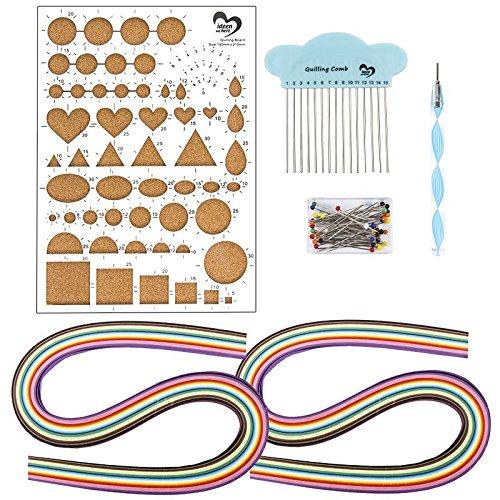 Quilling-Bastelpackung inkl. 240 Papierstreifen & Werkzeug | Quilling Papier Set mit Werkzeug | 24 Farben | 5mm & 7mm | Starter-Kit