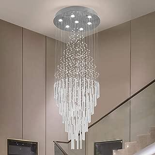 Raindrop Crystal Chandelier Modern Contemporary Chandelier Rain Drop Helix Fixture Lighting with Crystal Balls for High Foyer Hallway/Living Room(Diameter24Height 60 (inch) (7 Lights)