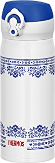 THERMOS水瓶真空保温手机杯一触式开型0.4L蓝白色JNL-402 BLWH
