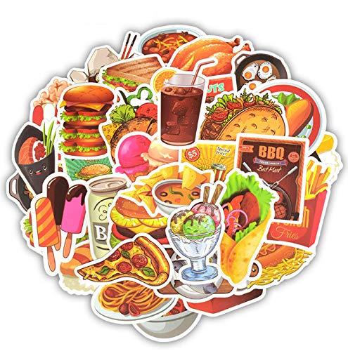 JIAQI Fast-Food-Aufkleber Spielzeug für Kinder Lecker Hamburger Pommes EIS Menü Aufkleber Aufkleber Aufkleber DIY Kühlschrank Laptop Gitarre Auto 50 STK