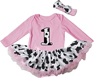 Petitebella Cow 1st Pink L/s Bodysuit Cow Tutu Baby Dress Nb-18m