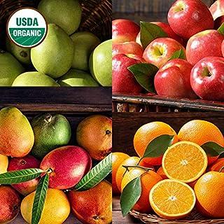 The Fruit Company Organic Mixed Fruit Medley (Deluxe- 15 pc)- USDA Certified Organic Green d'Anjou Pears, Organic Mango, Organic Fuji Apples, and Organic Navel Oranges