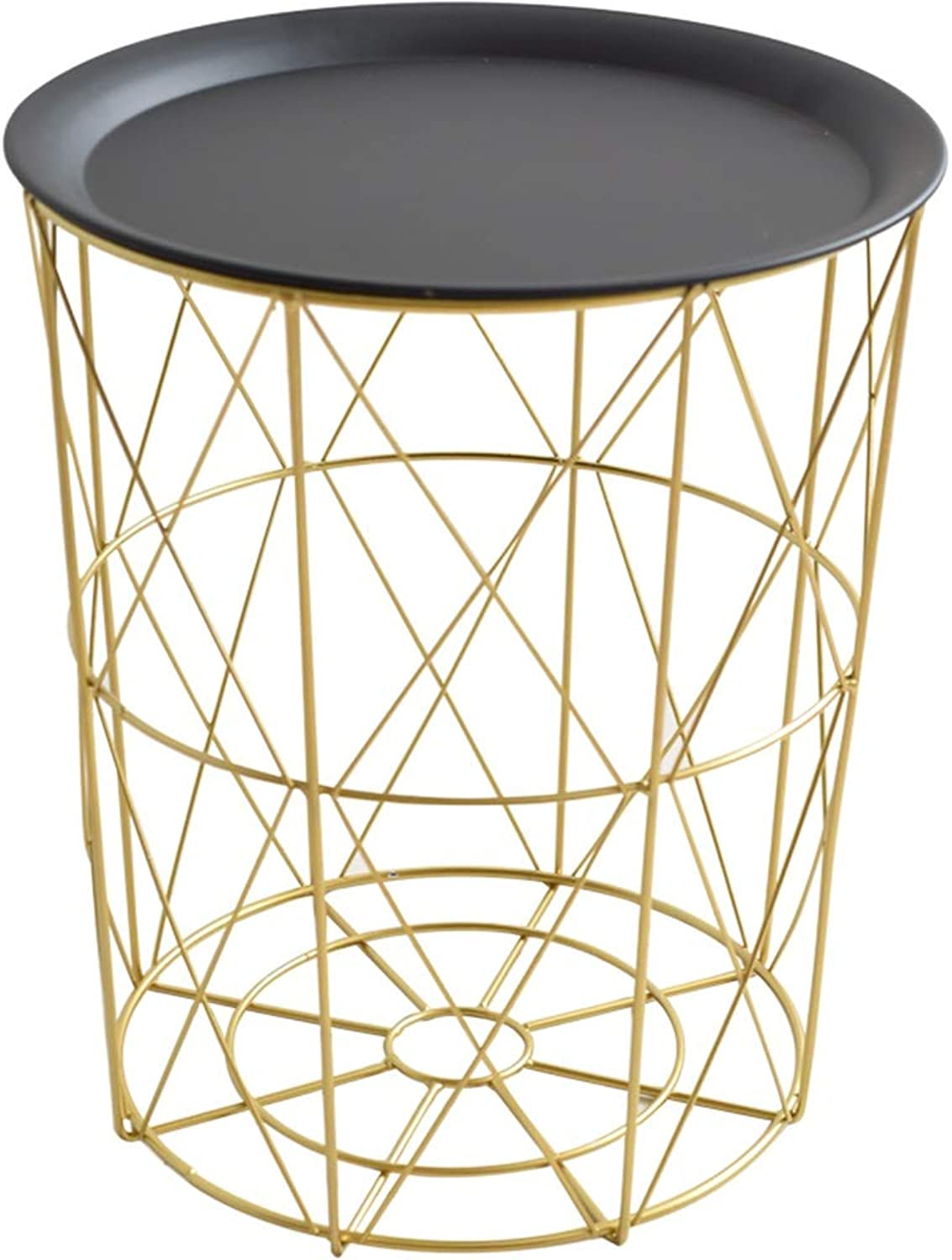 Coffee Table Nordic Wrought Iron Furniture Multifunctional gold Storage Basket Dining Table Living Room Side Table (Size   H40CM)