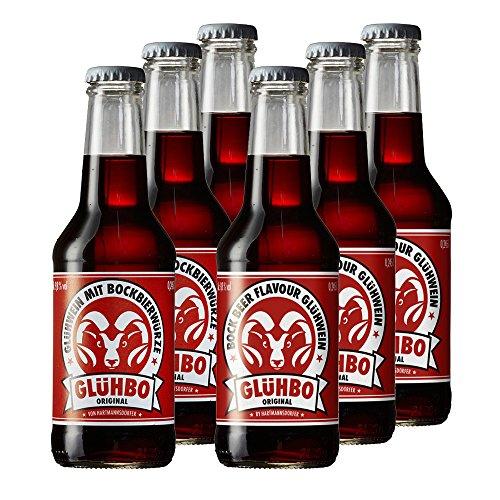 6 Flaschen Glühbo original Glühwein rot mit Bockbierwürze in der 0,245L Flasche 9,8% Vol.