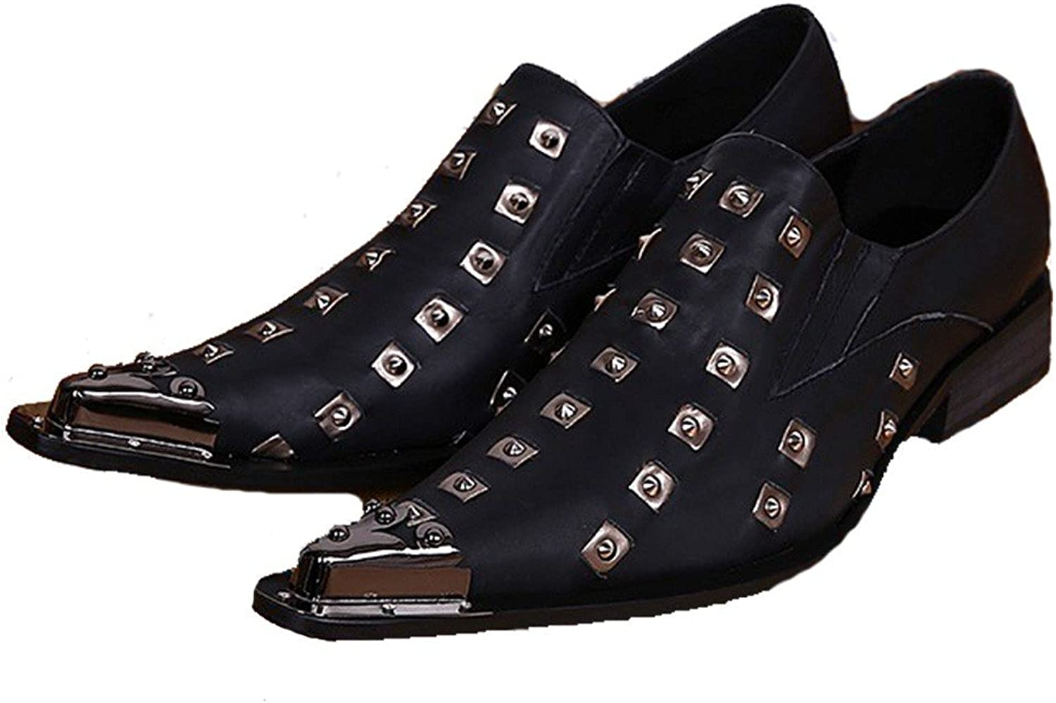 Cover Plus Size 5-12 New Studded Black Genuine Leather Dress Loafers Mens shoes