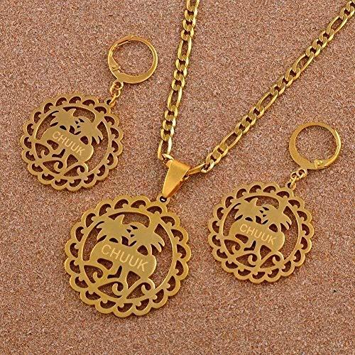Yiffshunl Collar con Colgante de Acero Inoxidable con árbol de Coco, Conjuntos de Pendientes para Mujer, joyería de Color Dorado, Regalo étnico