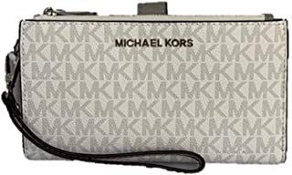 Michael Kors Damen Geldbörse, Clutch, Doppelter RV, MK Logo 4x10x18 cm, Echtes Leder, Schlaufe, Jet Set Travel