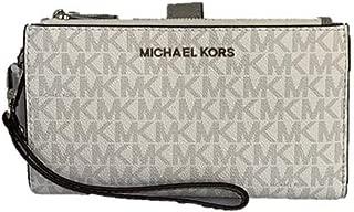 Michael Kors Jet Set Travel Double Zip PVC Signature Wristlet Wallet in Bright White