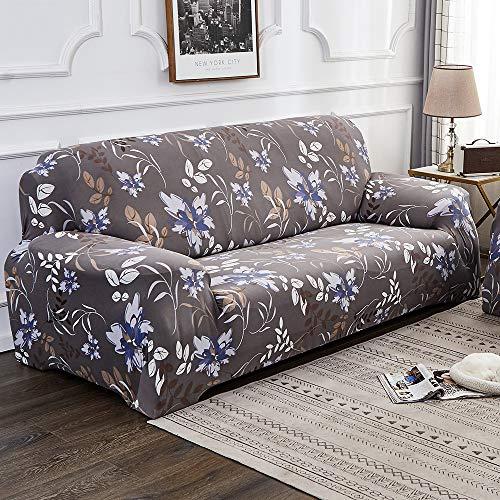 Souarts Sofabezug elastische Stretch Sofaüberwurf Sofa Couch Sessel Husse Bezug Decke Sofabezüge 1/2/3/4 Sitzer (4 Sitzer, Blau Blumen)