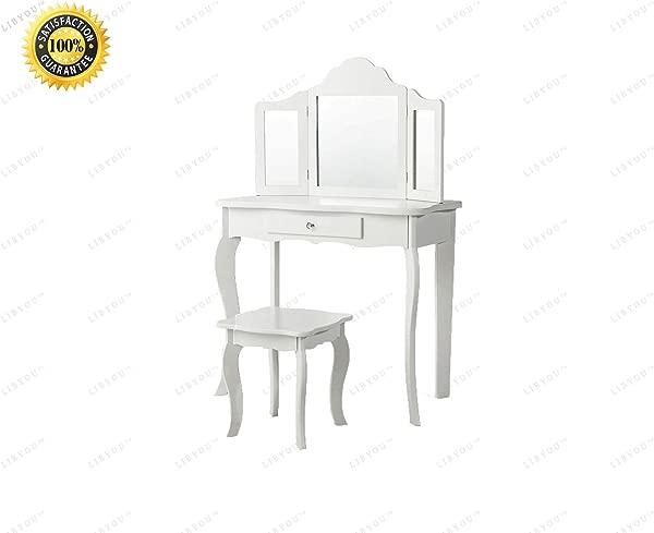 COLIBROX 镜面梳妆台化妆台桌化妆桌梳妆桌化妆台化妆桌凳子套装实木化妆凳子套实木梳妆台镜化妆台