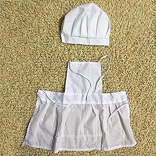 d1e66f74814d Feketeuki Lindo bebé Blanco Cocinero Foto de Vestuario Fotografía Prop.  Traje Recién Nacido Sombrero Delantal