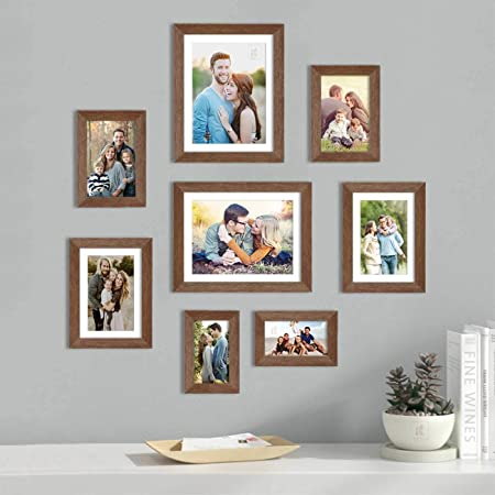 Art Street Set of 8 Brown Wall Photo Frame, Picture Frame for Home Decor with Free Hanging Accessories (Size - 4x6, 5x7, 6x8, 8x10 Inchs)