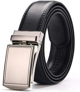 Aliux メンズ ベルト 本革 ビジネス 通勤 紳士 おしゃれ オートロック式 穴なし ベルト ズ調整可能 ギフトBOX付