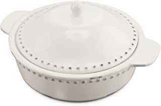 KOVOT 1.8 Quart Ceramic Round Casserole Bakeware Dish With Lid - Ivory White With Antique-Style Finish