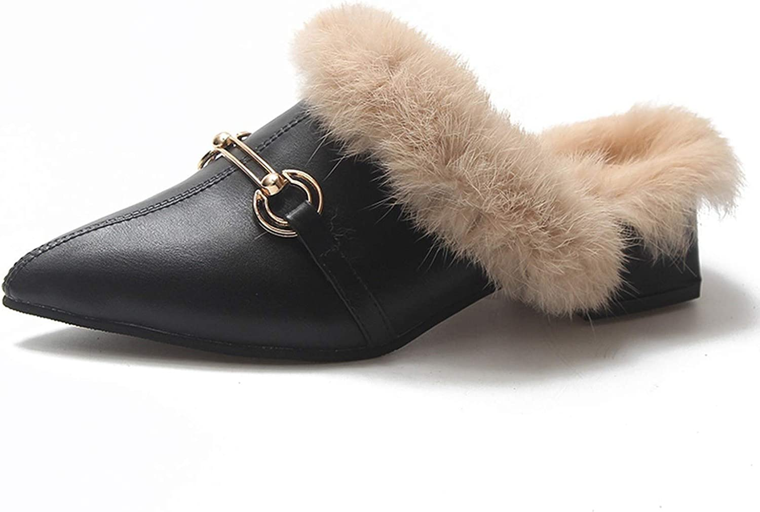 Pointed Toe Mules shoes Women Plush Warm Fur Slippers Fluffy Furry Slides Winter Outside Med Heels Slippers