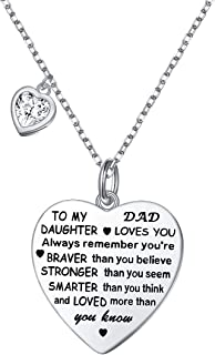 FLYOW Sterling Silver Always Remember You are Braver Than You Believe Jewelry Heart Pendant Necklace Inspirational Gifts for Daughter from Mom Dad