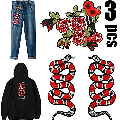 Snake Patch-3PCS Big Iron on Patches Clothes Patches, Suitable for Women Animal Embroidered Decal Sew Patches Clothes Accessories for for T-Shirt Jeans Clothing Bags Designer Supreme Large Fan