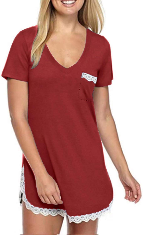 Women's Sexy Sleep Shirt Summer Short Sleeve V-Neck Dress Lace Trim Soft Nightshirt Short Mini Dress