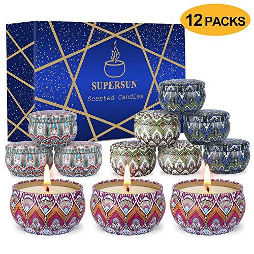 SUPERSUN 12 Stück Duftkerze Geschenke für Frauen, Vanille, Lavendel, Rosa, Sojawachs Duftkerzen Set mit Angenehmer Duft Schön Kerzen für Aromatherapie Weihnachten und Hochzeiten