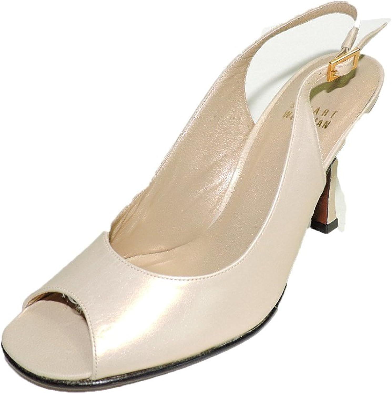 Stuart Weitzman Womens Song Tan Sand Leather Open Toe High Heels Slingbacks Size 8.5 N (Narrow)
