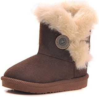 Girls Boys Warm Winter Flat Shoes Bailey Button Snow Boots(Toddler/Little Kid)