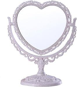GONGFF Miroir portatif, Miroir de Salon Double Face Rose créatif Miroir cosmétique Miroir Miroir Commode rétro Maquillage Miroir de Chambre à Coucher Maquillage et Miroir (Couleur: Blanc)