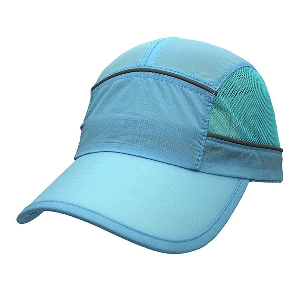 Duseedik Reflective Stripe Breathable Cap Foldable Mesh Sports Cap with Sun Runner Cap